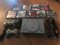 playstation 1 ps1 console 10 games 2 controllers sell or swap