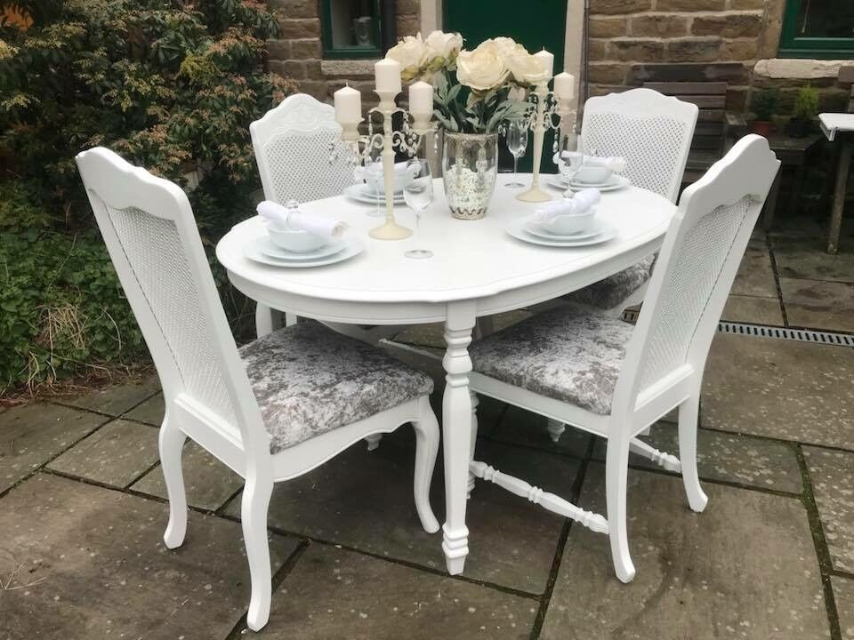 Dining Table Amp 4 Chairs Seats 6 Extends White Set