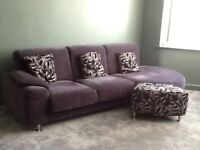 **REDUCED** Grey 3 seater sofa with matching cushions, swivel chair and foot stool