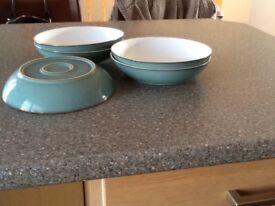 Denby Regency Green pasta bowls x4