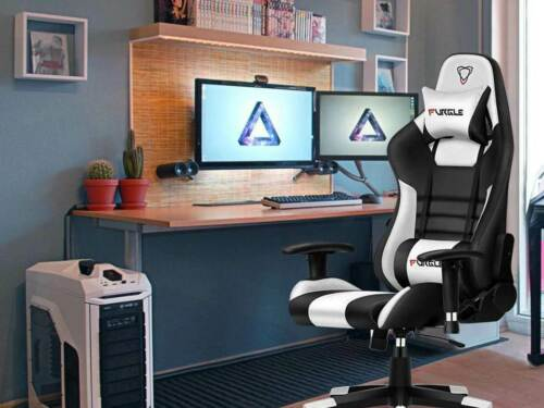 Office Ergonomic Gaming Computer Body-hugging Leather Armrest Footrest Chair