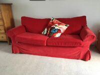 Sofa bright red cord effect fabric IKEA