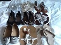 Ladies shoe collection size 3.5to 4 flip flops and flats