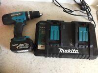 Makita drill, battery and dual charger