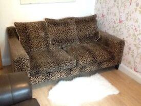 """Comfortable sofa - """"plush velvet animal skin pattern"""" only £50"""