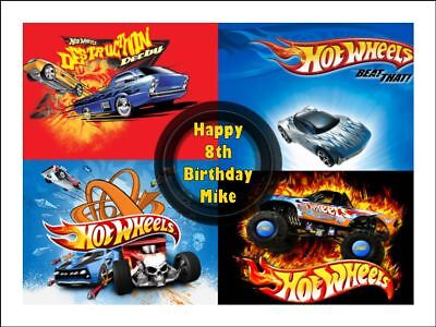 HOT WHEELS A4 Edible Icing Birthday Cake Party Decoration Topper #1](Hot Wheels Birthday Cake)