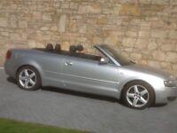 Audi A4 Carbriolet, 2.4ltr petrol v6, Automatic, sliver, black leather interior, heated seats