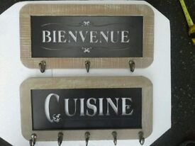 Pair of welcome and kitchen French hooks tin and wooden framed