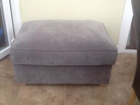 Large Pouffe / Footstool in grey/blue upholstery