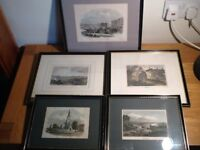 Set of 5 antique hand coloured engravings of Nottingham