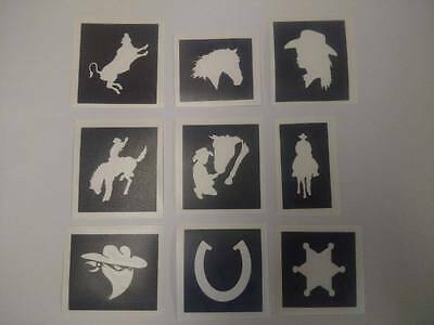 Rodeo & cowboy themed stencils for glitter tattoos / face painting  party boys - Cowboy Tattoos