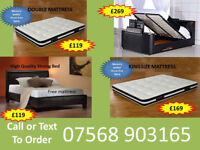 BED BRAND NEW DOUBLE TV BED MATTRESS DOUBLE KING FAST DELIVERY 9612