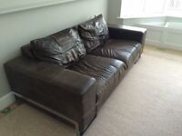 DFS Brown Leather Sofa and Armchair
