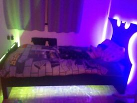 Single batman bed, curtains and lamp
