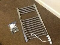 CHROME ELECTRIC TOWEL RADIATOR COMPLETE WITH ALL FIXINGS NEARLY NEW