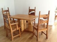 Handmade designer solid wood table and chairs