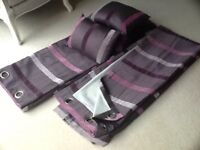 Loverly Aubergine strip eyelit lined curtains new 66x90drop and with 4 matching cushions