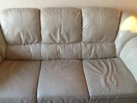 Three Seater Cream Leather Sofa and Chair For Sale
