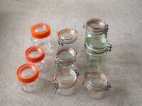 NINE ASSORTED GLASS KILNER STYLE JARS