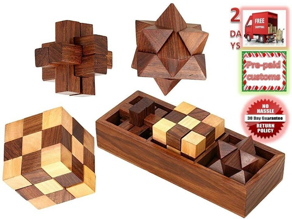 Details about 3D Wooden Puzzle Education Gift,family Logic Brain 3 TEASERS  GAME FREE Shipping