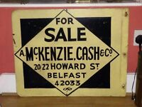 Vintage wooden advertising sign,double sided,5 digit telephone number on it.
