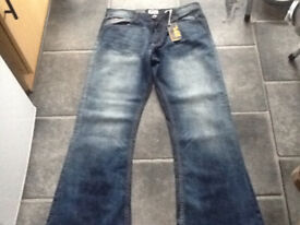 "Men's DM (Denim Merchants Ltd) Stone washed Bootcut Denim Jeans W34"" L32"" Brand New with tags."