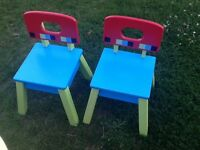 Two wooden elc chairs