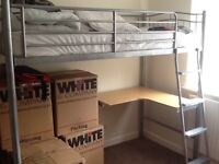 Silver frame high sleeper single bed with fold out futon and desk. AVAILALBE 28th July