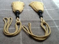 Laura Ashley rope style tie backs with wooden trim