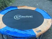 Trampoline, 40 inches across on bouncy bit. Tatty but life left in it. Legs come off for transport