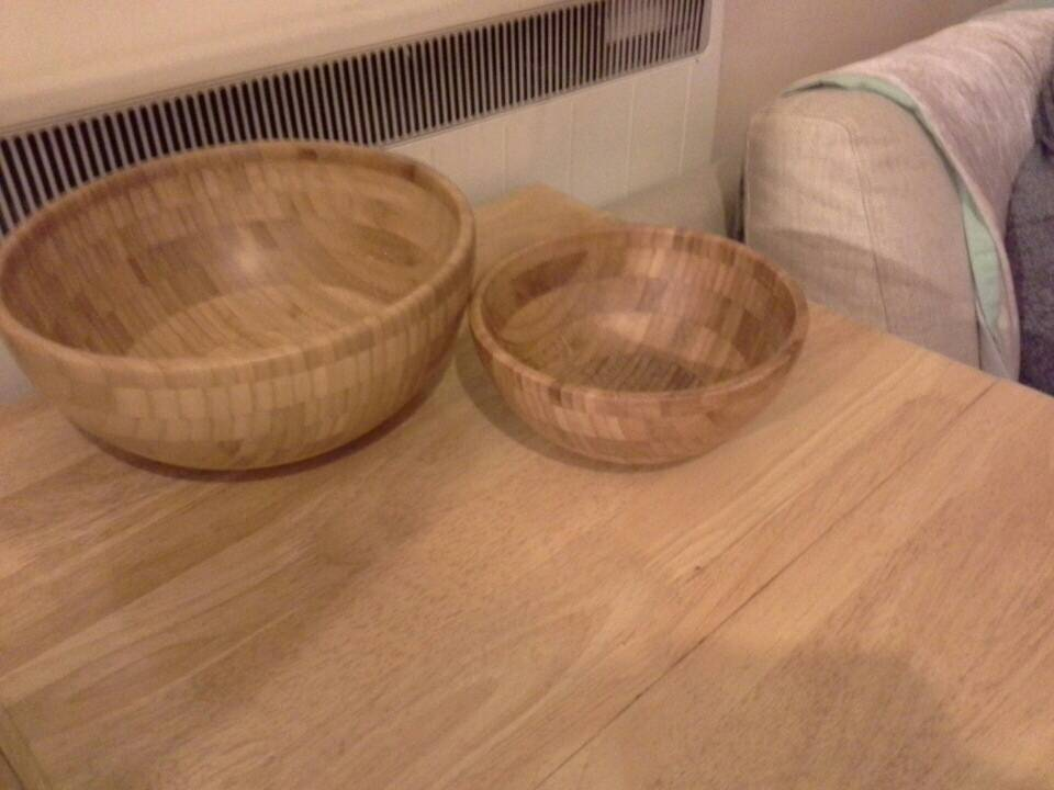 2 piece Bamboo Wooden bowl