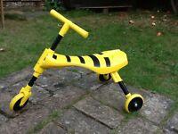 Childrens Scuttle bug folding scooter Bee design yellow black good condition