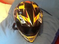UFO SPECTRA FULL FACE MOTOCROSS HELMET AND FUEL RACE CANS BARGAIN