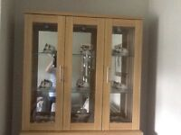 brand new solid oak bookcase/ display cabinet lights up