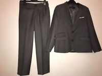 BOYS GREY AUTOGRAPH SUIT JACKET (7-8 YEARS) AND SUIT TROUSERS (6-7 YEARS)