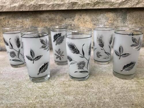 Vintage Set of 6 Libbey Frosted Silver Leaf Juice Glasses