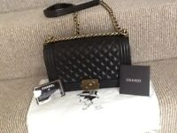 Chanel BOY Black Quilted Lambskin Chunky Chain Shoulder Handbag