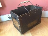 Military wooden tool box ,metal handles and edges.