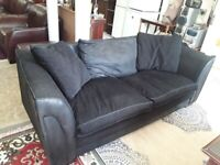 Large black leather, fabric sofa Copley Mill LOW COST MOVES 2nd Hand Furniture STALYBRIDGE SK15 3DN