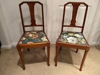 Pair of Antique 1920's Walnut Chairs