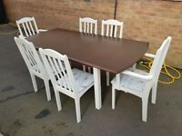 Extending Dining Table & 6 Painted Chairs - In Great Order