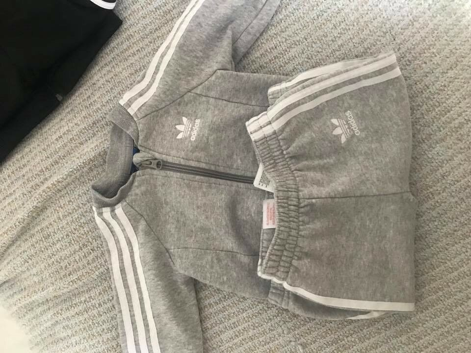 2x Baby Boys Adidas Originals Tracksuit Black Grey 6 9months Brand