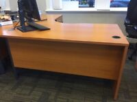 Office Desks&Drawers for sale. 7 curved desk with drawers, 1 rectangle desk with drawers, 3 drawers