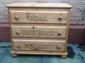Steve Allen hand made solid pine children's bed and drawers
