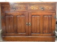 Solid oak furniture, dining table & chairs, sideboard & cabinet with display unit