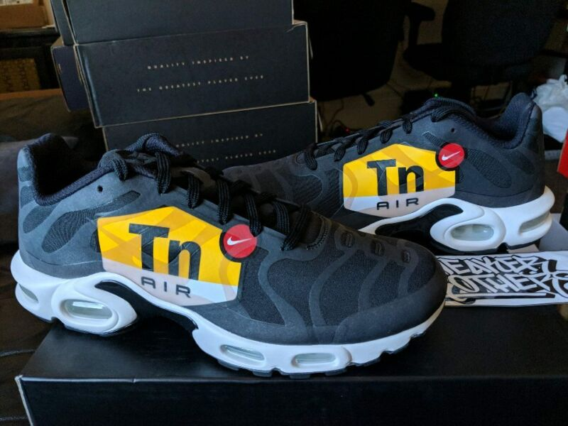 5f52ec2fbc Nike Air Max Plus TN Tuned 1 NS GPX Big Logo Black White Yellow Red AJ0877