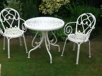 Lovely cream bistro table and two chairs