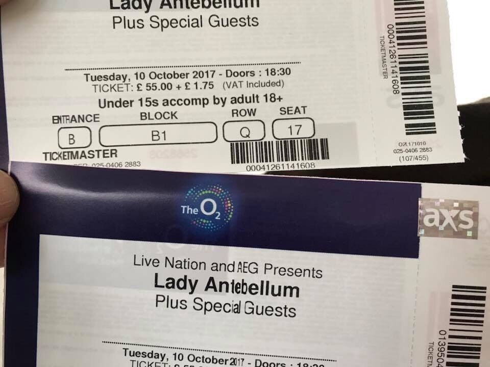 Lady Antebellum Tickets for tonight at O2