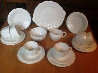 Vintage 21-piece Royal Crown Derby white 'Surrey' bone china tea set