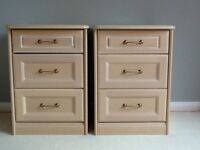 Good quality pair of beside drawers. Beige light wood. Good condition